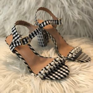 Madden Girl gingham heels with pearls!